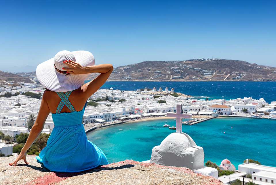Women Overlooking Mykonos