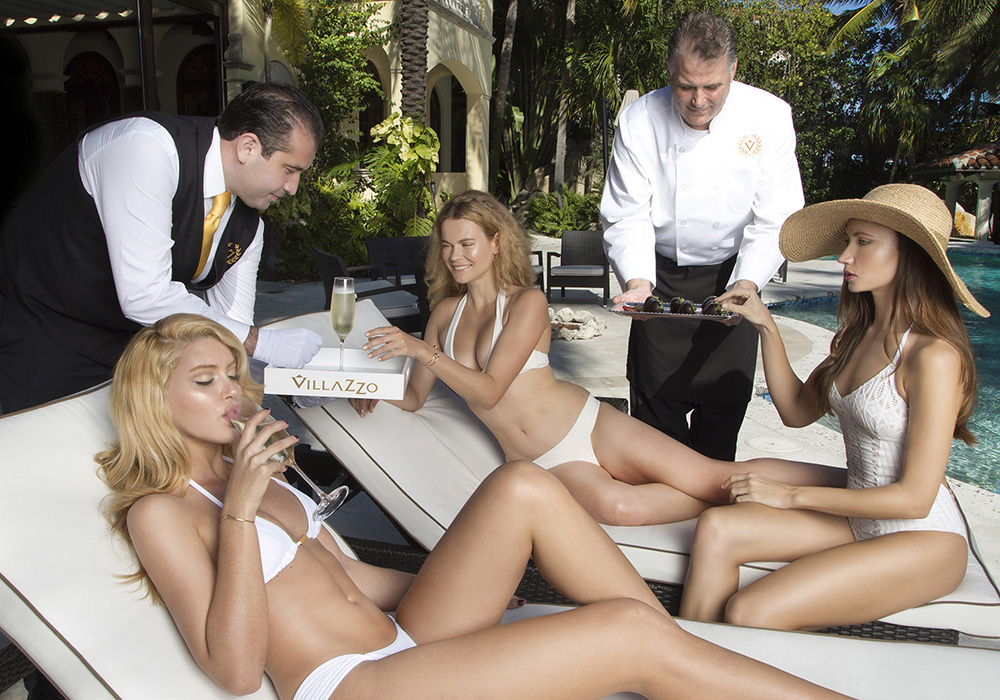Girls by Pool with Staff