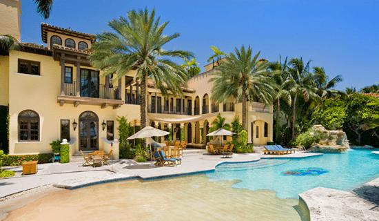 with an enormous pool area - Big Mansions With Pools On The Beach